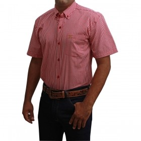 Camisa Masculina Manga Curta Os Coroné Vermelha
