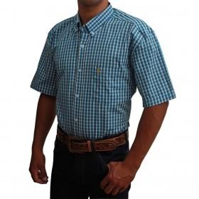 Camisa Masculina Manga Curta Os Coroné Xadrez Azul Claro