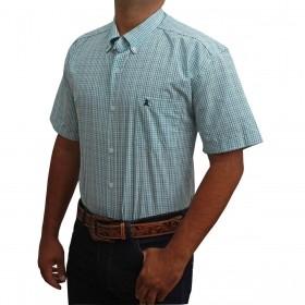 Camisa Masculina Manga Curta Os Coroné Xadrez Azul E Branco