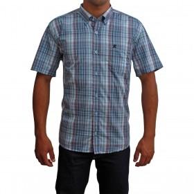 Camisa Masculina Manga Curta Os Coroné Xadrez Azul E Roxo