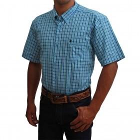 Camisa Masculina Manga Curta Os Coroné Xadrez Azul E Verde