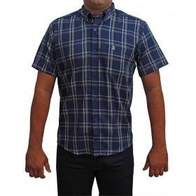 Camisa Masculina Manga Curta Os Coroné Xadrez Azul Marinho