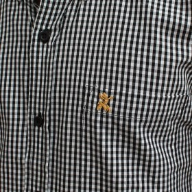 Camisa Masculina Manga Curta Os Coroné Xadrez Preto E Branco