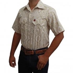 Camisa Masculina Manga Curta Os Vaqueiros Floral Branco