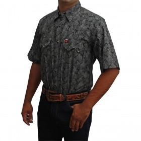 Camisa Masculina Manga Curta Os Vaqueiros Floral Preta