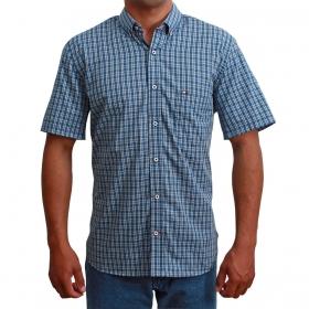 Camisa Masculina Manga Curta Riverton Curta Azul Xadrez Preto