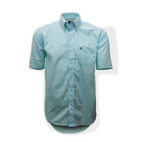 Camisa Tuff Masculina Micro Xadrez Verde Claro