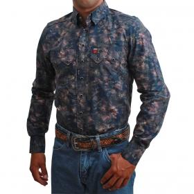 Camisa Masculina Os Vaqueiros Azul Marinho Floral