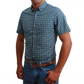 Camisa Masculina Riverton Manga Curta Xadrez Azul E Preto