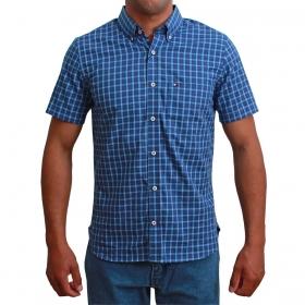 Camisa Masculina Riverton Manga Curta Xadrez Azul E Vermelho