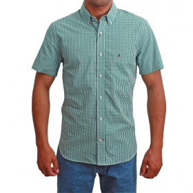 Camisa Masculina Riverton Manga Curta Xadrez Verde