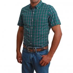 Camisa Masculina Riverton Manga Curta Xadrez Verde E Azul Marinho