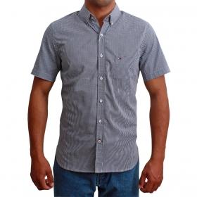Camisa Masculina Riverton Xadrez Micro Manga Curta Azul