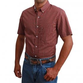 Camisa Masculina Riverton Xadrez Vermelho E Branco