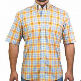 Camisa Tuff Masculina Xadrez Azul Listra Amarela E Vermelha