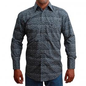 Camisa Masculina Wrangler Importada Floral Cinza