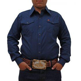 Camisa Os Vaqueiros Infantil Xadrez Azul E Preto