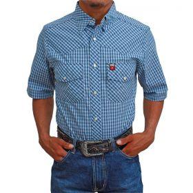 Camisa Os Vaqueiros Manga Curta Xadrez Azul