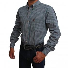 Camisa Os Vaqueiros Manga Longa Xadrez Laranja E Verde