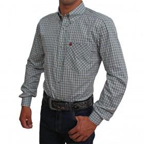 Camisa Os Vaqueiros Manga Longa Xadrez Pequeno Cinza