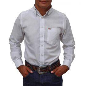 Camisa Os Vaqueiros Masculina Branca Manga Longa
