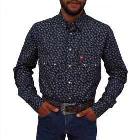 Camisa Os Vaqueiros Masculina Azul Marinho Com Penas Brancas