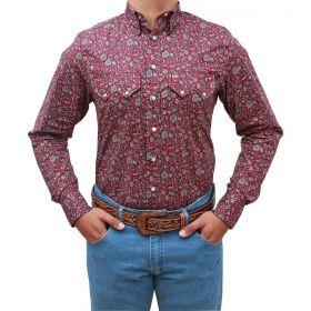 Camisa Os Vaqueiros Masculina Bordô Com Flores Cinza