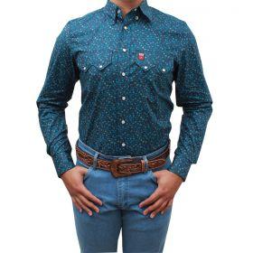 Camisa Os Vaqueiros Masculina Floral Azul