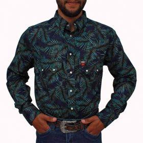Camisa Os Vaqueiros Masculina Floral Azul Marinho Com Verde
