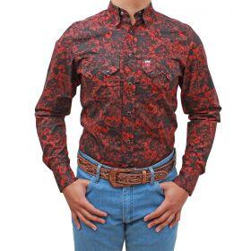 Camisa Os Vaqueiros Masculina Floral Preto Floral Vermelho