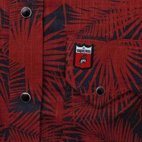 Camisa Os Vaqueiros Masculina Floral Vermelho e Preto Manga Longa