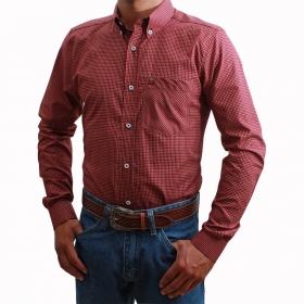 Camisa Os Vaqueiros Masculina Manga Longa Micro Xadrez Vermelho