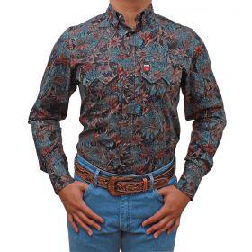 Camisa Os Vaqueiros Masculina Preta Floral