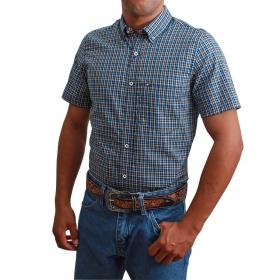 Camisa Riverton Manga Curta Xadrez Azul E Laranja