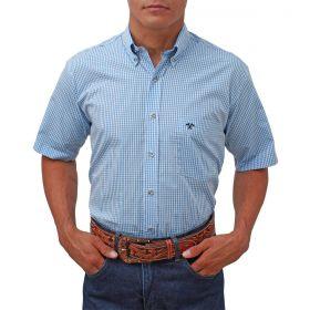 Camisa Tomahawk Masculina Xadrez Azul Manga Curta