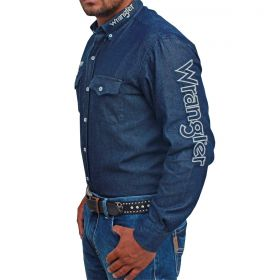 Camisa Wrangler Masculina Jeans Bordada