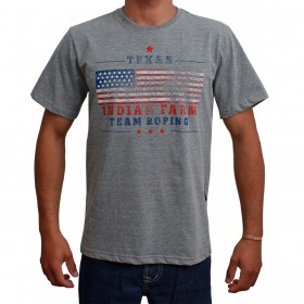 Camiseta Indian Farm Masculina Cinza Bandeira USA