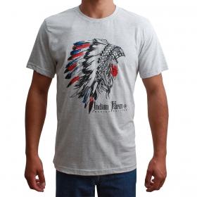 Camiseta Indian Farm Masculina Cocar Cinza