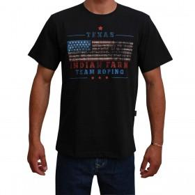 Camiseta Indian Farm Masculina Preta Bandeira Dos Estados Unidos