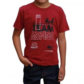 Camiseta Infantil 2K Jeans Bordô Team Roping