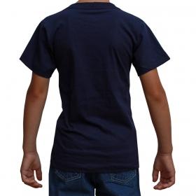 Camiseta Infantil Texas Farm Azul Marinho Com Logo Turquesa
