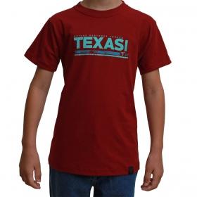 Camiseta Infantil Texas Farm Bordô Com Logo Turquesa