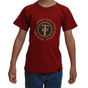 Camiseta Infantil Texas Farm Bordô Original