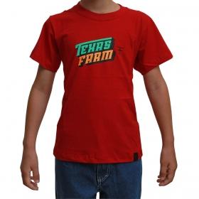Camiseta Infantil Texas Farm Vermelha Logo Turquesa