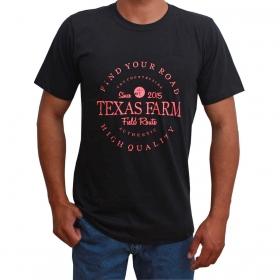 Camiseta Masculina Texas Farm Preta Logo Pink