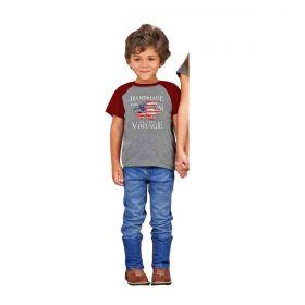 Camiseta Os Vaqueiros Infantil Cinza E Vermelho