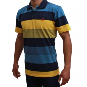 Camiseta Polo Classic Azul Listra Amarela