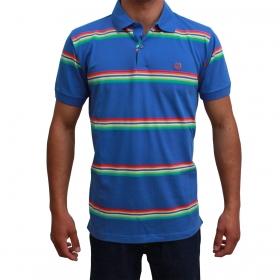 Camiseta Polo Classic Azul Listrada Vermelha