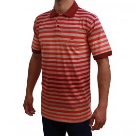 Camiseta Polo Classic Listrada Bordô