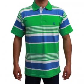 Camiseta Polo Classic Verde Listra Azul